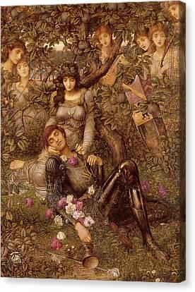 Lute Canvas Print - Acrasia by John Melhuish Strudwick