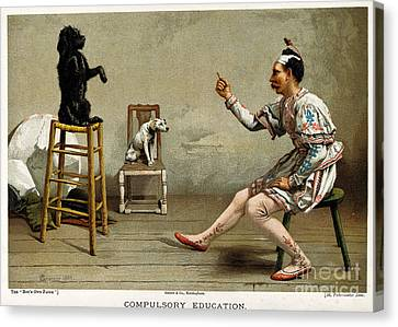 Working Dog Canvas Print - Acrobat Teaching Dog New Tricks, 1889 by Wellcome Images
