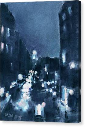 Across 23rd Street Nyc High Line At Night Canvas Print by Beverly Brown