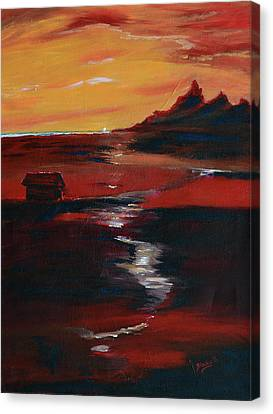 Across Amber Fields To The Sea Canvas Print by Donna Blackhall
