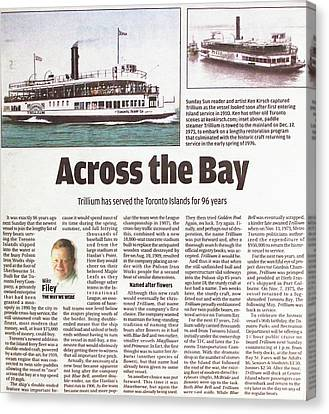 Canvas Print featuring the painting Toronto Sun Article Across The Bay by Kenneth M Kirsch