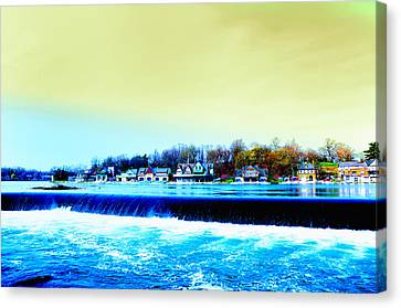 Across The Dam To Boathouse Row. Canvas Print by Bill Cannon