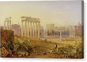 Across The Forum - Rome Canvas Print by Hugh William Williams