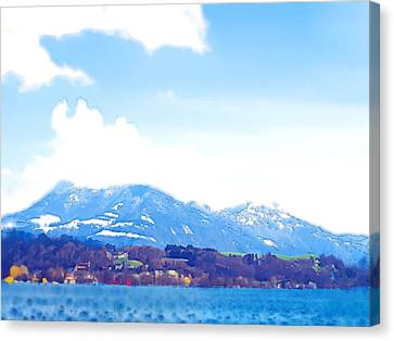 Across The Lake  Canvas Print by Chuck Shafer