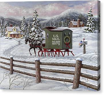 Winter Roads Canvas Print - Across The Miles by Richard De Wolfe