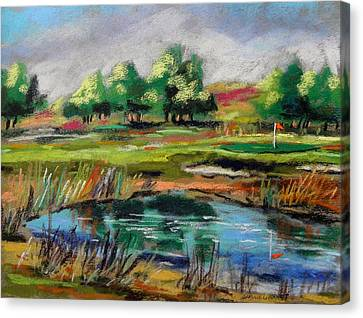 Canvas Print featuring the painting Across The Water Hazard by John Williams
