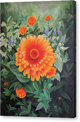 Acrylic Flower Painting - Zoozinnia Canvas Print by Avril Whitney