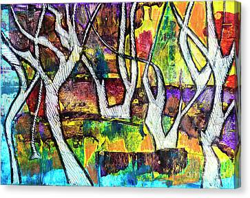 Canvas Print featuring the painting Acrylic Forest  by Ariadna De Raadt