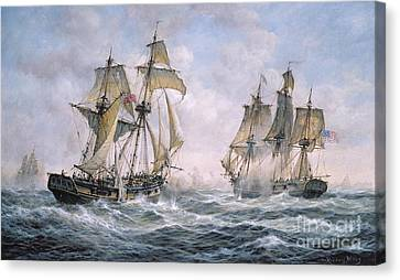 History Canvas Print - Action Between U.s. Sloop-of-war 'wasp' And H.m. Brig-of-war 'frolic' by Richard Willis