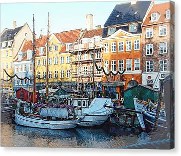 Activity On Nyhavn Harbour Canvas Print by Dorothy Berry-Lound