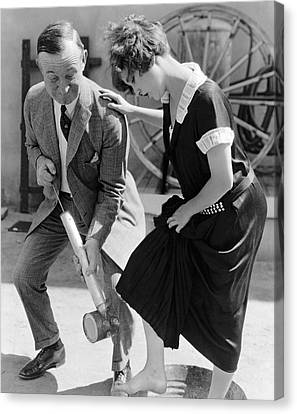 Actress Gets Feet Sprayed Canvas Print by Underwood Archives