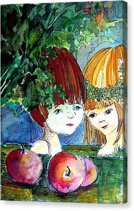 Adam And Eve Before The Fall Canvas Print by Mindy Newman