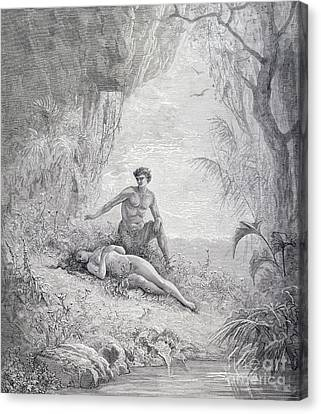 Adam And Eve Canvas Print by Gustave Dore