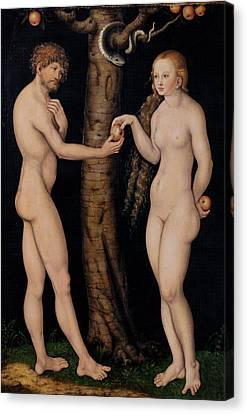 Adam And Eve In The Garden Of Eden Canvas Print by The Elder Lucas Cranach