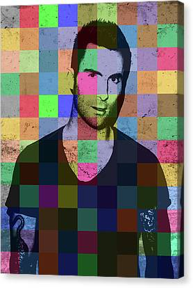 Adam Levine Maroon Five Pop Art Patchwork Colorful Portrait Canvas Print by Design Turnpike