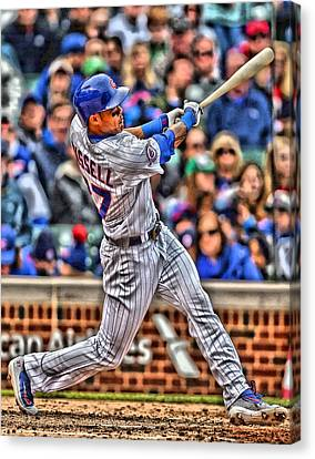 Baseball Fields Canvas Print - Addison Russell Chicago Cubs by Joe Hamilton