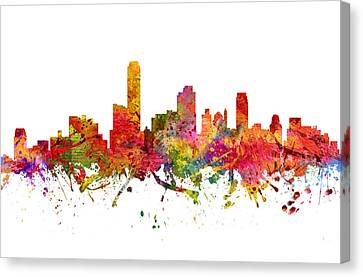 Skyline Canvas Print - Adelaide Australia Cityscape 08 by Aged Pixel