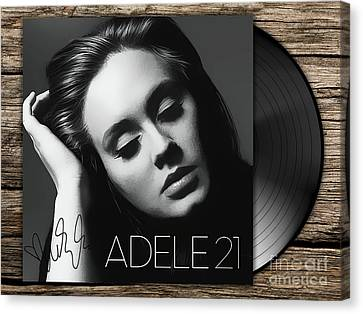 Adele 21 Art With Autograph Canvas Print by Kjc