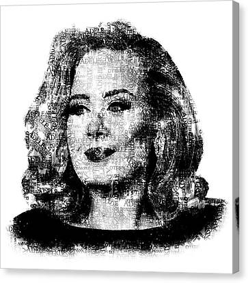 Rhythm And Blues Canvas Print - Adele Text Portrait - Typographic Face Poster With The Lyrics For The Song Hello by Jose Elias - Sofia Pereira