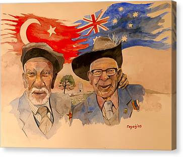 Canvas Print featuring the painting Adil Sahin And Len Hall by Ray Agius