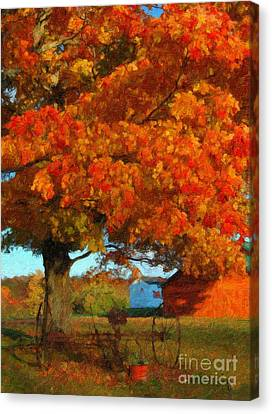 Canvas Print featuring the painting Adirondack Autumn Color Brush by Diane E Berry