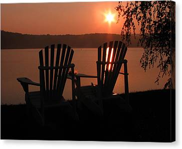Adirondack Chairs-1 Canvas Print by Michael Mooney
