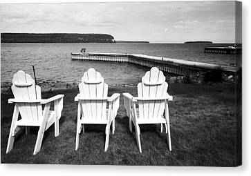 Adirondack Chairs And Water View At Ephriam Canvas Print by Stephen Mack