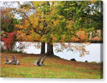 Adirondack Chairs Canvas Print by Nancy Wilt