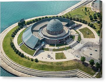 Canvas Print featuring the photograph Adler Planetarium Aerial by Adam Romanowicz