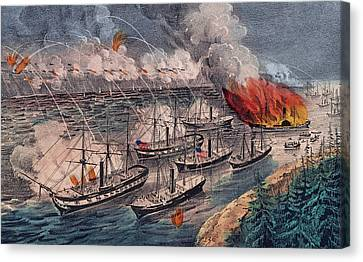 Admiral Farragut's Fleet Engaging The Rebel Batteries At Port Hudson Canvas Print by American School