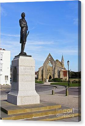 Admiral Lord Nelson And Royal Garrison Church Canvas Print by Terri Waters
