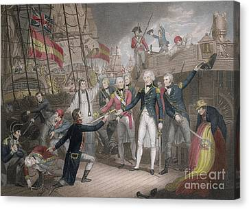 Lord Admiral Nelson Canvas Print - Admiral Nelson's Boarding The Two Spanish Ships, 14th February 1797 by Daniel Orme