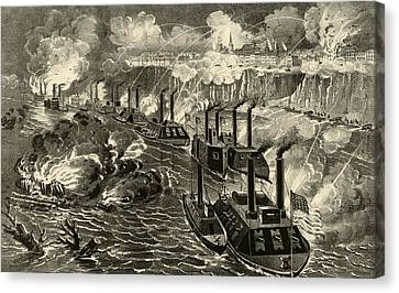 Admiral Porter's Fleet Running The Rebel Blockade Of The Mississippi At Vicksburg Canvas Print