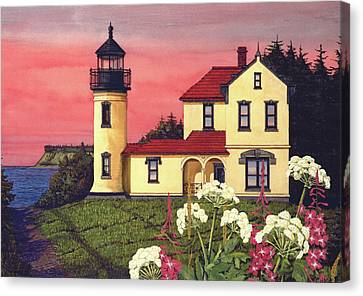 Whidbey Island Ferry Canvas Print - Admiralty Head Lighthouse  by James Lyman