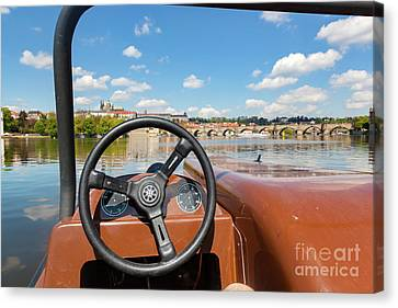 Admiring Prague From Paddle Boat On Vltava River In Prague, Czech Republic. Popular Tourist Attraction Canvas Print