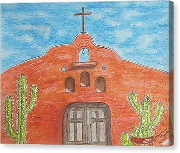 Adobe Church And Cactus Canvas Print