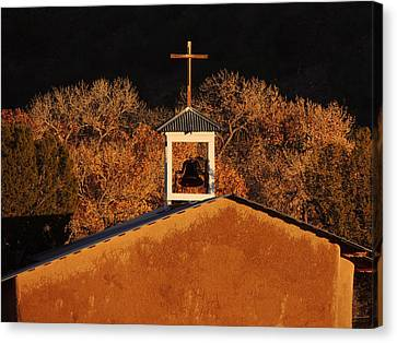 Adobe Church At San Ildefonso Pueblo In Northern New Mexico Canvas Print