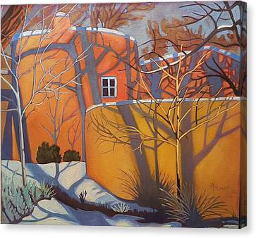 Adobe, Shadows And A Blue Window Canvas Print by Art West