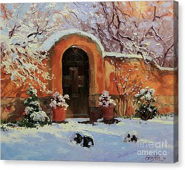 Winter Landscapes Canvas Print - Adobe Wall With Wooden Door In Snow. by Gary Kim