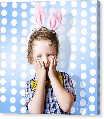 Adorable Little Kid Wearing Easter Bunny Ears Canvas Print by Jorgo Photography - Wall Art Gallery
