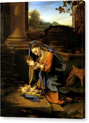 Adoration Of The Child Canvas Print by Correggio