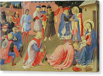 Nativity Canvas Print - Adoration Of The Magi by Fra Angelico