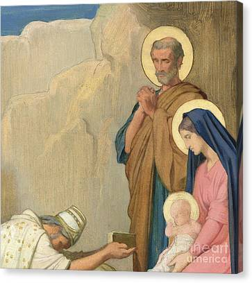 Adoration Of The Magi Canvas Print by Hippolyte Flandrin