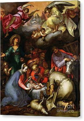 Adoration Of The Shepherds Canvas Print by Abraham Bloemaert
