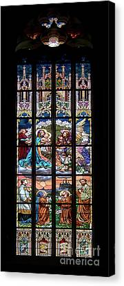 Adoration - Stained Glass Window Canvas Print by Michal Boubin