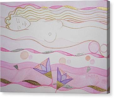 Adoring Hathor Detail Canvas Print by Gozy Dew