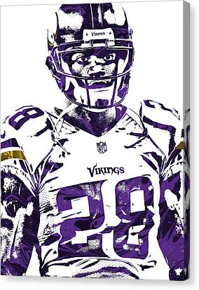 Canvas Print featuring the mixed media Adrian Peterson Minnesota Vikings Pixel Art 2 by Joe Hamilton
