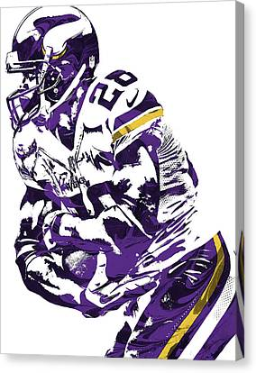 Canvas Print featuring the mixed media Adrian Peterson Minnesota Vikings Pixel Art by Joe Hamilton