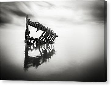 Fort Stevens State Park Canvas Print - Adrift At Sea In Black And White by Eduard Moldoveanu