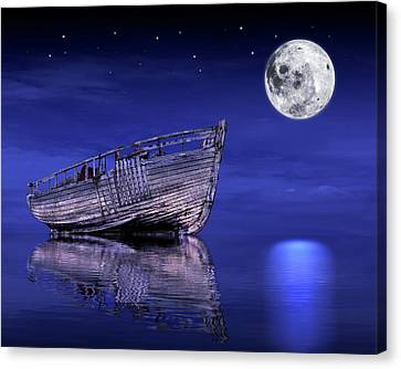Canvas Print featuring the photograph Adrift In The Moonlight - Old Fishing Boat by Gill Billington